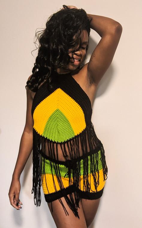 Jamaican Flag Crop top Set