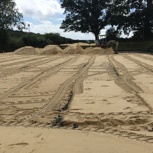 Equestrian arena construction, in Newbury Berkshire. Using Redhill Fines Silica Sand.