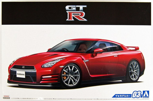 Aoshima The Tuned Car: 1/24 Scale Plastic Model Kit - 2014 Nissan R35 GT-R Pure Edition