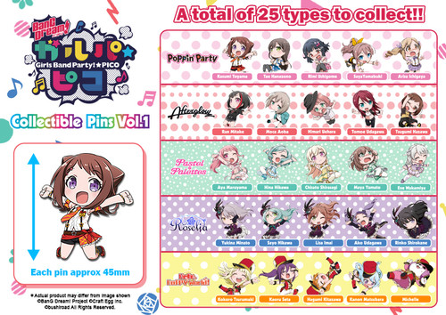 BanG Dream! Girls Band Party! Pico: Pins - Collectible Pins Vol. 1 (Single Pack)