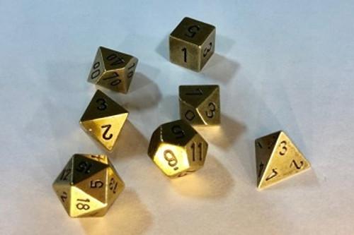 Chessex: Polyhedra 7-Die Set - 16MM - Metal - Old Brass (104000013919)