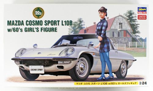 Hasegawa: 1/24 Car Model Kit - SP368 Mazda Cosmo Sport L10B w/ 60's Girl's Figure