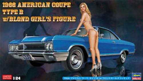 Hasegawa: 1/24 Car Model Kit - SP413 1966 Buick Wildcar American Coupe Type B w/ Blond Girl's Figure