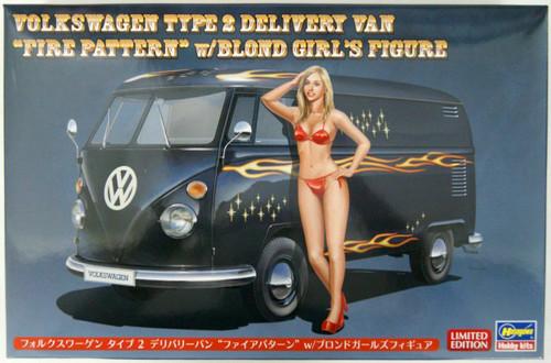"Hasegawa: 1/24 Car Model Kit - SP464 Volkswagen Type 2 Delivery Van ""Fire Pattern"" w/ Blond Girl's Figure"