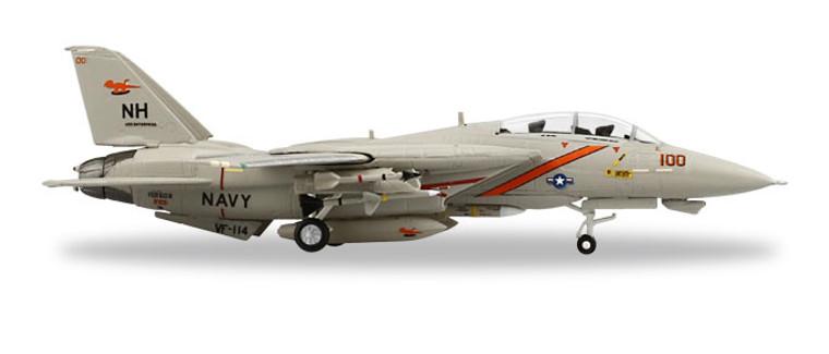 "Herpa Grumman F-14A Tomcat - VF-114 ""Aardvarks"", U.S.S. Enterprise 1/200 558884"