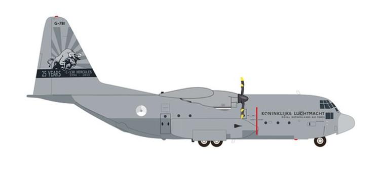 "Herpa Royal Netherlands Air Force Lockheed C-130H Hercules - 336 Squadron ""25 Years C-130 Hercules"" G-781 1/200 571296"