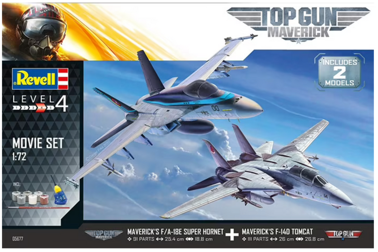 Revell Maverick's F-14D Tomcat & F/A-18E Super Hornet Movie Set TOP GUN 1/72 Scale 05677