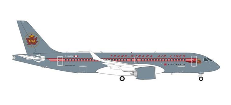 Herpa Air Canada Airbus A220-300 - Trans Canada Air Lines retro livery – C-GNBN 1/200 571593