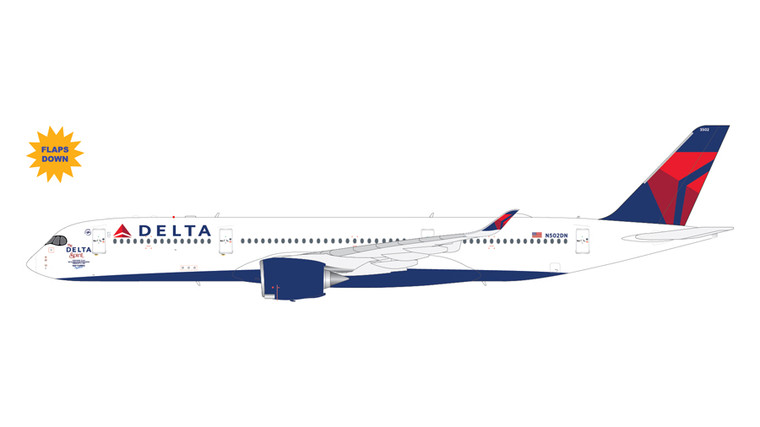 """GeminiJets Delta Airlines Airbus A350-900 N502DN """"The Delta Spirit"""" Flaps Down 1/200 G2DAL997F"""