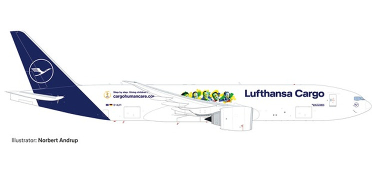"""Herpa Lufthansa Cargo Boeing 777F """"Cargo Human Care"""" – D-ALFI """"Buenos Días México"""" 1/500"""