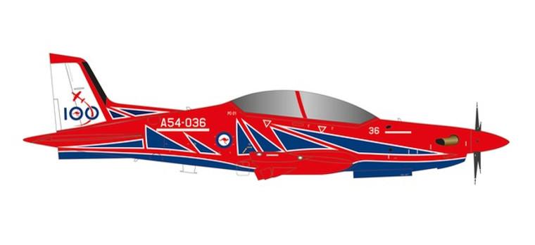 "Herpa Royal Australian Air Force Pilatus PC-21 - Roulettes Aerobatic Team ""RAAF 100"" – A54-036 1/72"