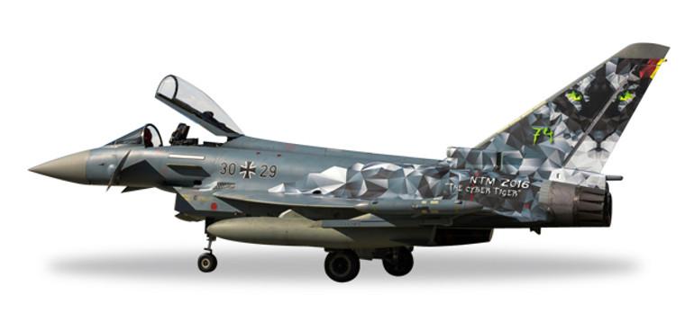 "Herpa Luftwaffe Eurofighter Typhoon - TaktLWG 74 ""Cyber Tiger"" 1/72 580168"