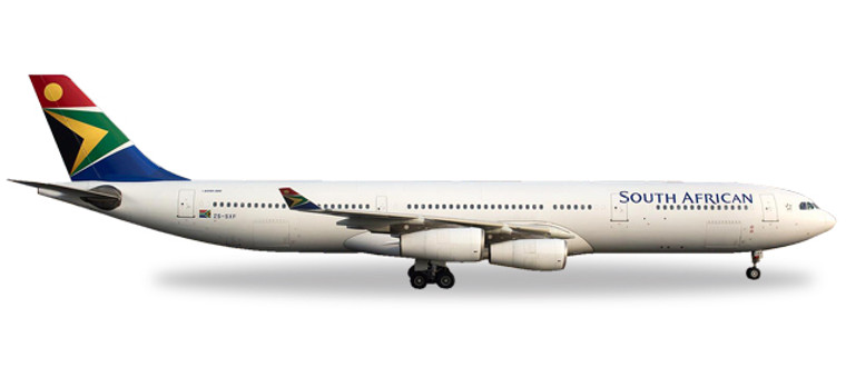 """Herpa South African Airways Airbus A340-300 - ZS-SXF """"N. Mandela Day"""" 1/500 530712"""