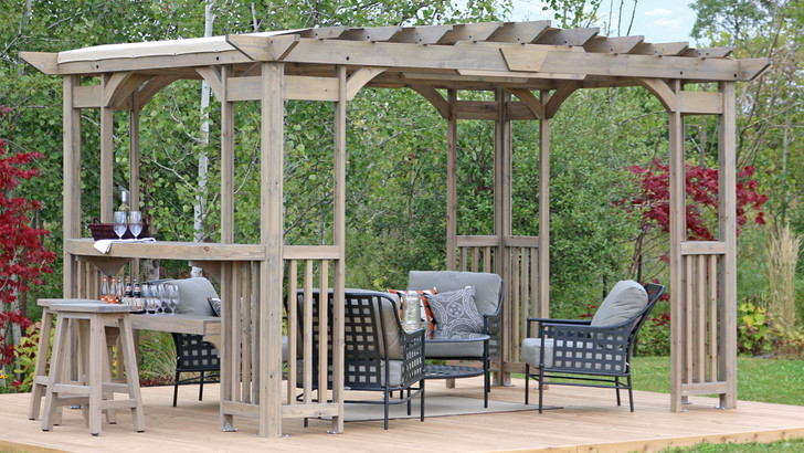 Yardistry Madison Pergola with Cedar Wood, Timber Gray Stain & Sunshade (10 ft. 14 ft.)
