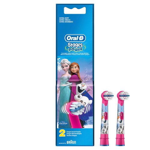 Oral-B Kids Electric Rechargeable Toothbrush Heads Replacement Refills Featuring Disney Frozen Characters - Pack of 2