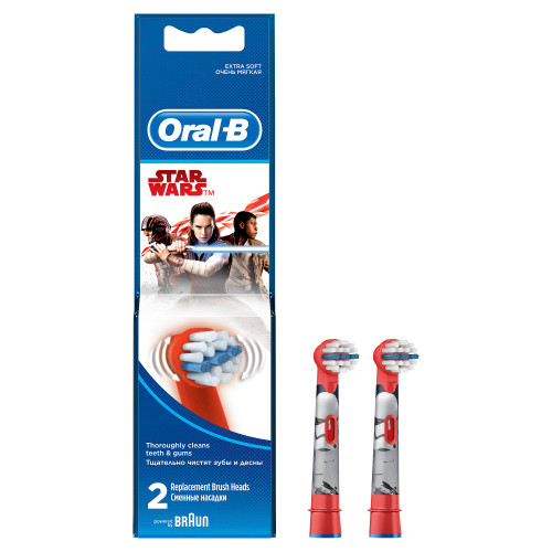 Oral-B Kids Electric Rechargeable Toothbrush Heads Replacement Refills Featuring Star Wars Characters - Pack of 2