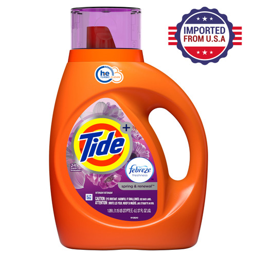 Tide plus Febreze Freshness Spring And Renewal Scent HE Turbo Clean Liquid Laundry Detergent - 1094 ml