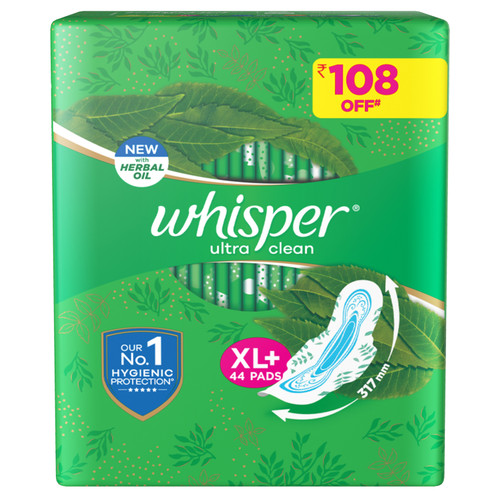 Whisper Ultra Clean XL+ Sanitary Pads - 44 Count