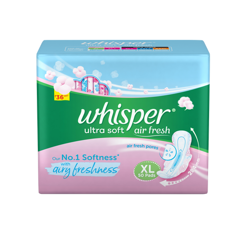 Whisper Ultra Soft XL Sanitary Pads - 50 Count