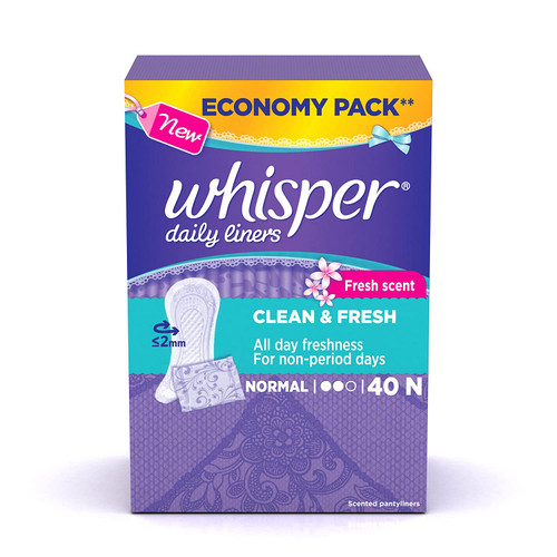 Whisper Daily Liners Clean and Fresh (40 Count)