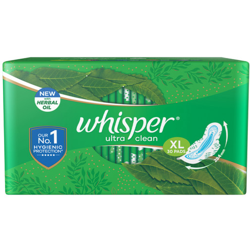 Whisper Ultra Clean XL Sanitary Pads - 30 Count