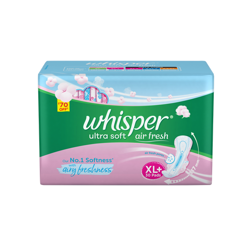 Whisper Ultra Soft XL+ Sanitary Pads - 30 Count
