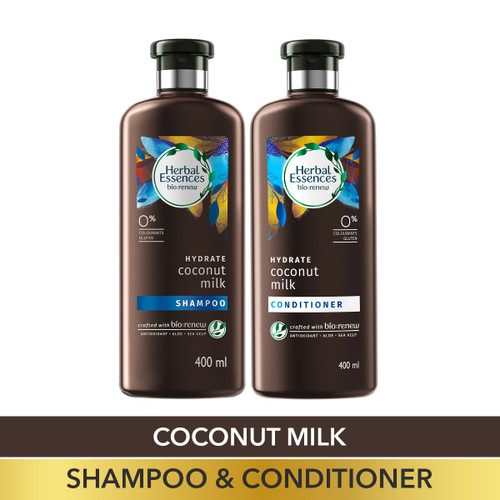 Herbal Essences Bio:Renew Coconut Milk Shampoo and Conditioner Combo Box, 400 ml + 400 ml |No Parabens, No Colourants