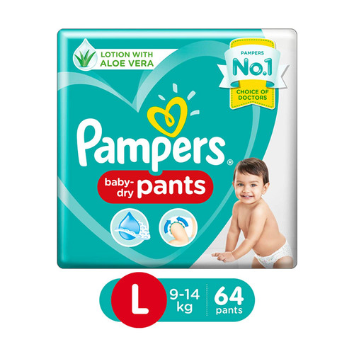 Pampers New Diapers Pants, Large - 64 Count