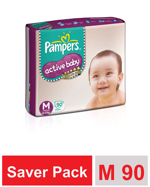 Pampers Active Baby Diapers, Medium - 90 Count