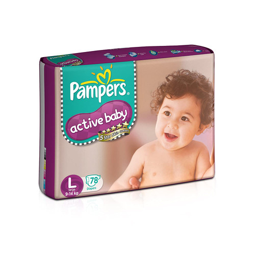 Pampers Active Baby Diapers, Large - 78 Count