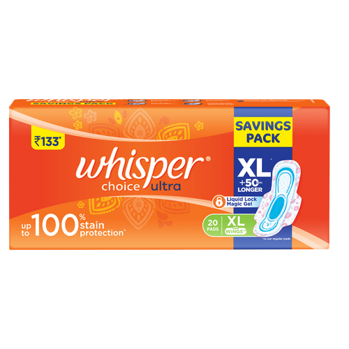 Whisper  Sanitary Pads - Choice Ultra Wings Extra Large 20 pcs