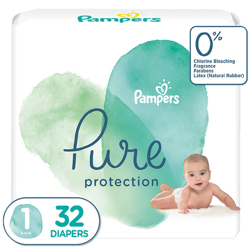 Pampers Pure Protection baby diapers, Newborn, Extra Small size taped diapers (NB, XS), 32 Count