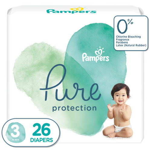 Pampers Pure Protection baby diapers, Medium Size taped diapers, MD 26 Count