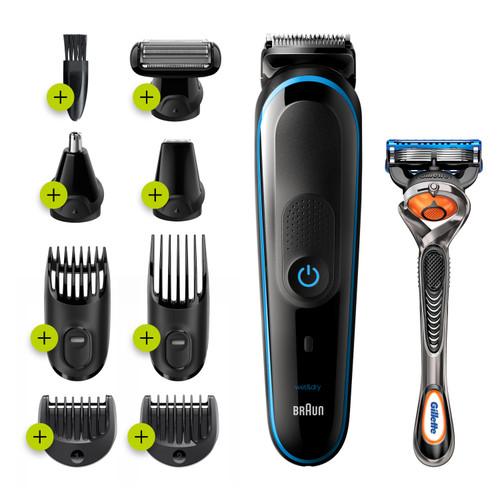 Braun 9-in-1 Trimmer MGK5280 Beard Trimmer, Body Grooming Kit & Hair Clipper, 100min run time, Black/Blue