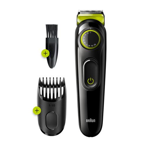 Braun Beard Trimmer BT3221, Beard Trimmer and Hair Clipper, 20 Length Settings, Volt Green