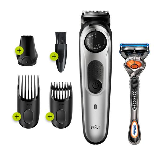 Braun Beard Trimmer BT5260, Hair Clipper for Men, 39 Length Settings,100min runtime, Black/Silver Metal