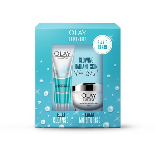 Olay Luminous Day Cream Moisturiser (SPF 24) and cleanser, 50g & 100g