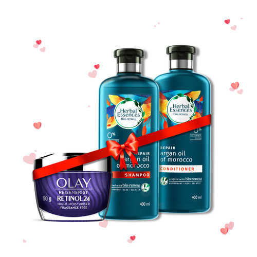 Herbal Essences Argan Oil Of Morocco Shampoo & Conditioner 400 ml + 400 mland Olay Night Cream: Regenerist Retinol 24 Moisturiser, 50 g