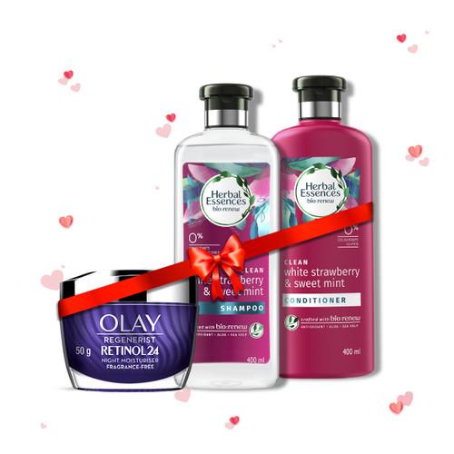 Herbal Essences  White Strawberry & Sweet Mint Shampoo & Conditioner 400 ml + 400 ml and Olay Night Cream: Regenerist Retinol 24 Moisturiser, 50 g