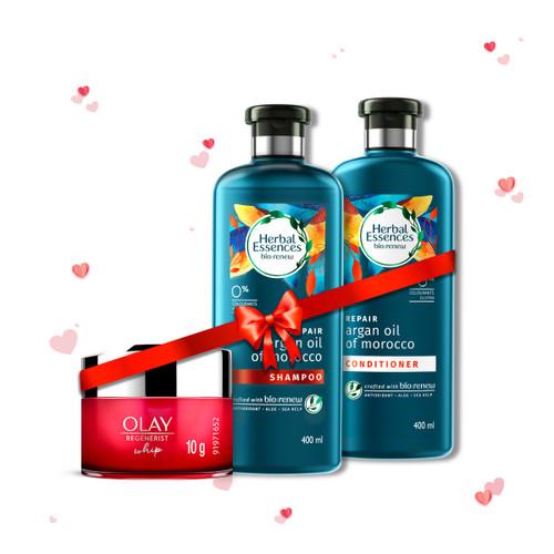 Herbal Essences Argan Oil Of Morocco Shampoo & Conditioner 400 ml + 400 ml and Olay Regenerist Whip