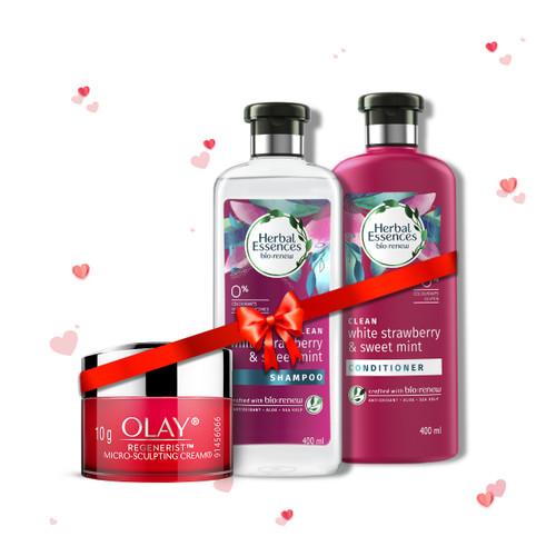 Herbal Essences White Strawberry & Sweet Mint Shampoo & Conditioner and Olay Day Cream: Regenerist Microsculpting Mini Moisturiser (non SPF), 10g