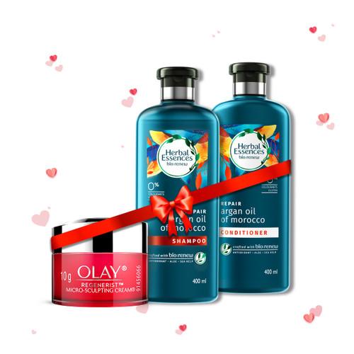 Herbal Essences Argan Oil Of Morocco Shampoo & Conditioner 400 ml + 400 ml and Olay Day Cream: Regenerist Microsculpting Mini Moisturiser (non SPF), 10g