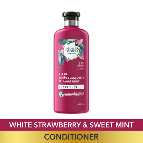 Herbal Essences White Strawberry & Sweet Mint CONDITIONER- For Cleansing and Volume - No Paraben, No Colorants, 400 ML
