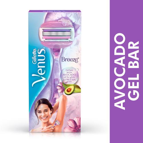 Gillette Venus Breeze Hair Removal Razor for Women with Avocado Oils & Body Butter, Freesia Scent, 1 Pc