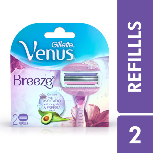 Gillette Venus Breeze Hair Removal Razor Blades/Refills/Cartridges for Women - 2 Pieces (Avocado Oils & Body Butter)