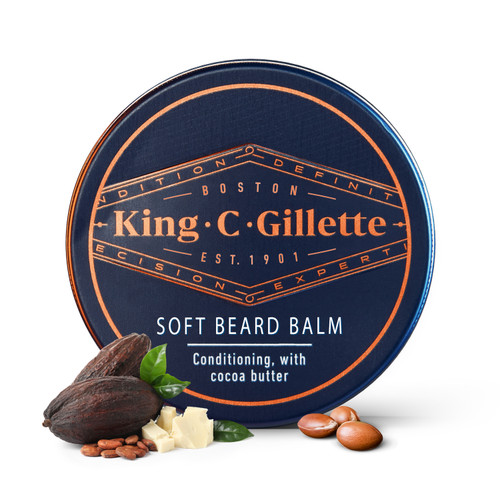 Gillette|King C. Gillette Men's Soft Beard Balm|Deep Conditioning for Better Styling | Nourishes & Moisturizes Beard| Lightweight Soft Creamy Texture Enriched with Vitamin E Supplements Beard Growth | 100ML
