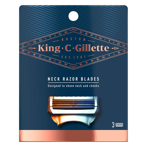 King C. Gillette Men's Neck Razor Cartridges (Pack of 3) with Built-in Precision Trimmer for Shaping