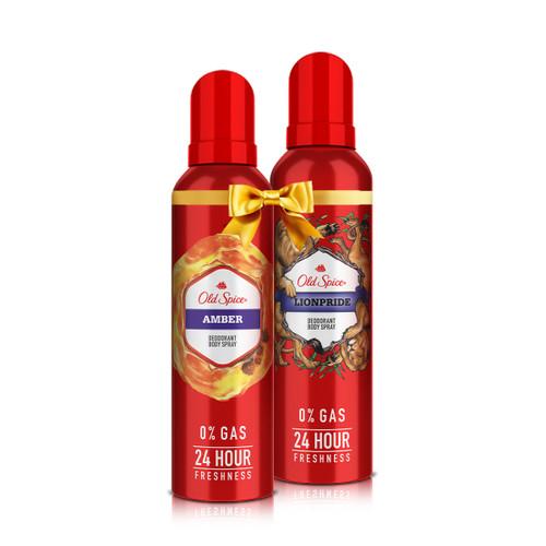 Old Spice- Amber No Gas Deodorant Body Spray Perfume, 140 ml and Old Spice- Lionpride No Gas Deodorant Body Spray Perfume, 140 ml
