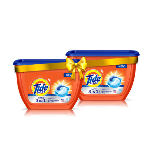 Tide Matic 3in1 PODs Detergent Pack 18 ct - Pack of 2