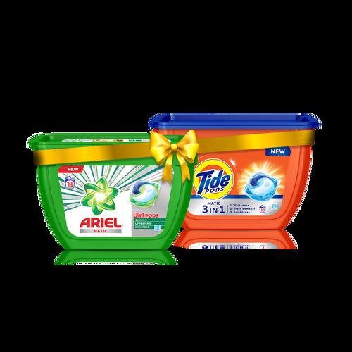 Ariel Matic 3in1 PODs Detergent Pack - 18 ct + Tide Matic 3in1 PODs Detergent Pack - 18 ct